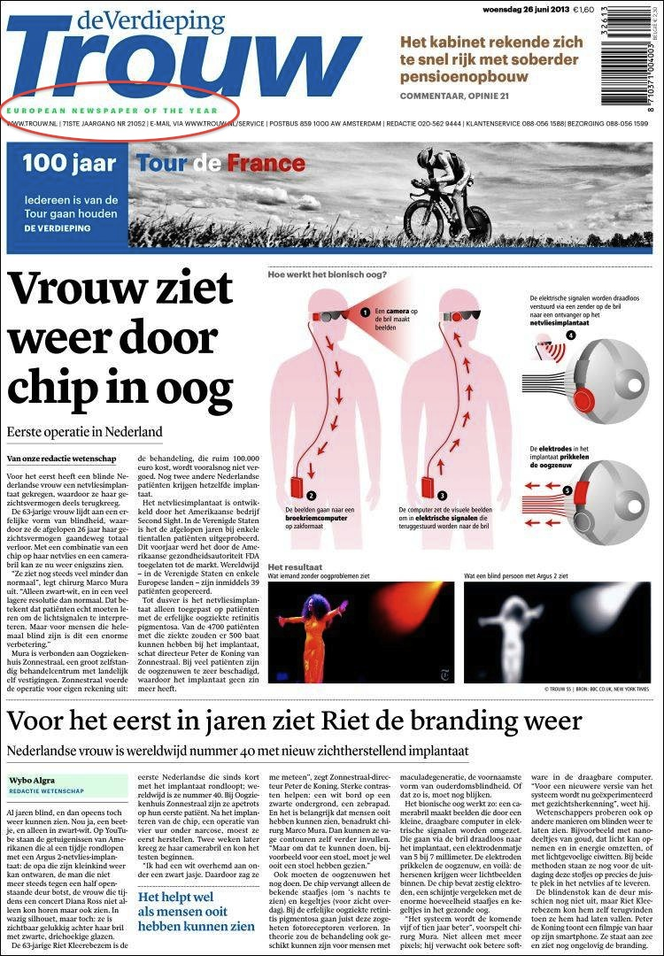 Dutch newspaper Trouw best news design 2013