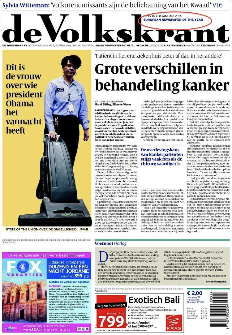 News design awarded - Dutch daily Volkskrant