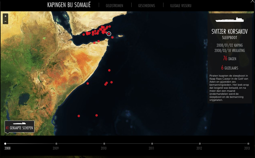 Pirate locations somalia - interactive last hijack - Dutch News Design